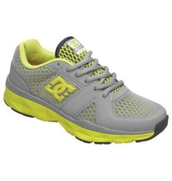 Grey and Yellow DC running shoe